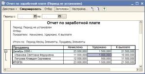 Отчет по заработной плате